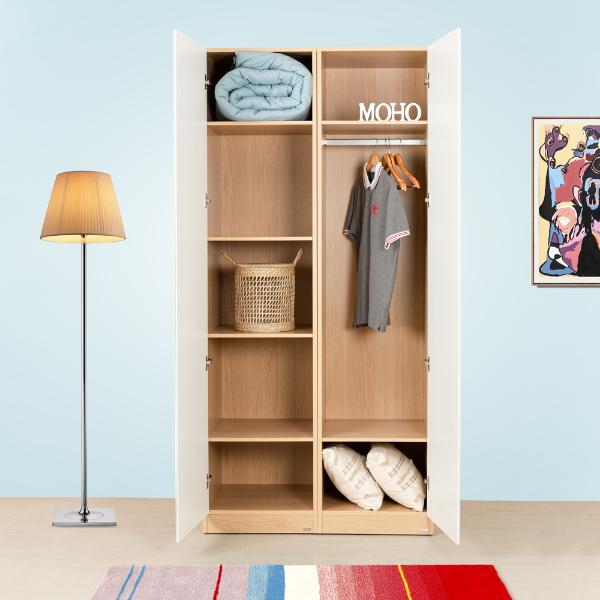 Set tủ quần áo MOHO VIENNA 2 cánh màu trắng phối gỗ