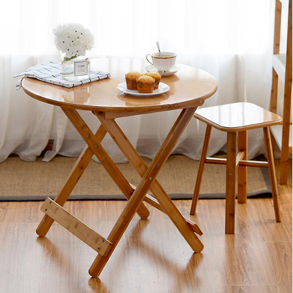 Bàn trà gấp hình tròn, vuông chất liệu tre ép cao cấp nhập khẩu phong cách decor (tặng kèm ghế)