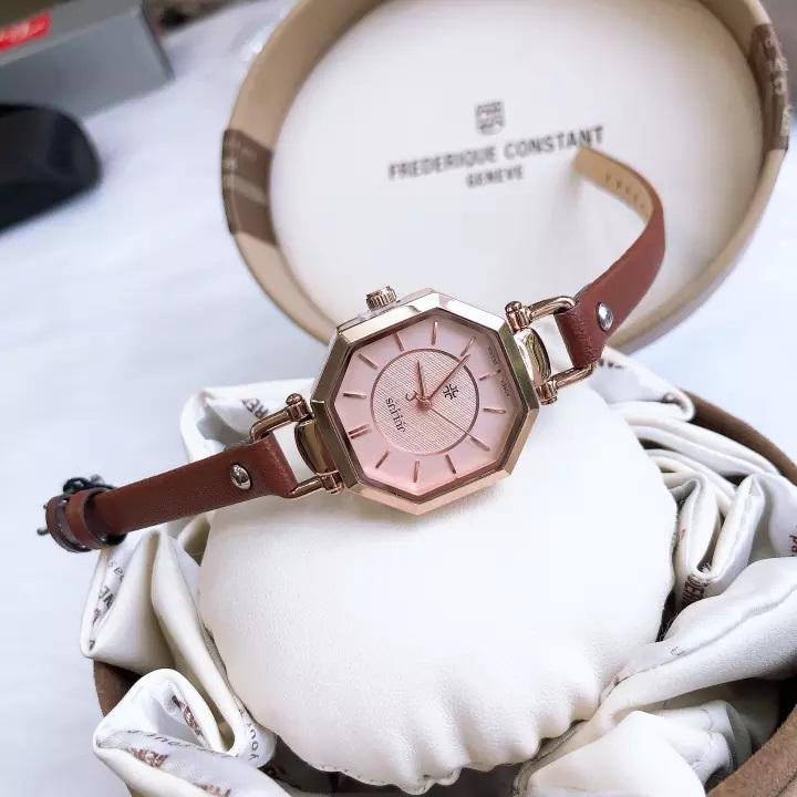 Đồng hồ nữ Julius Hàn Quốc JA-750 dây da mặt lục giác