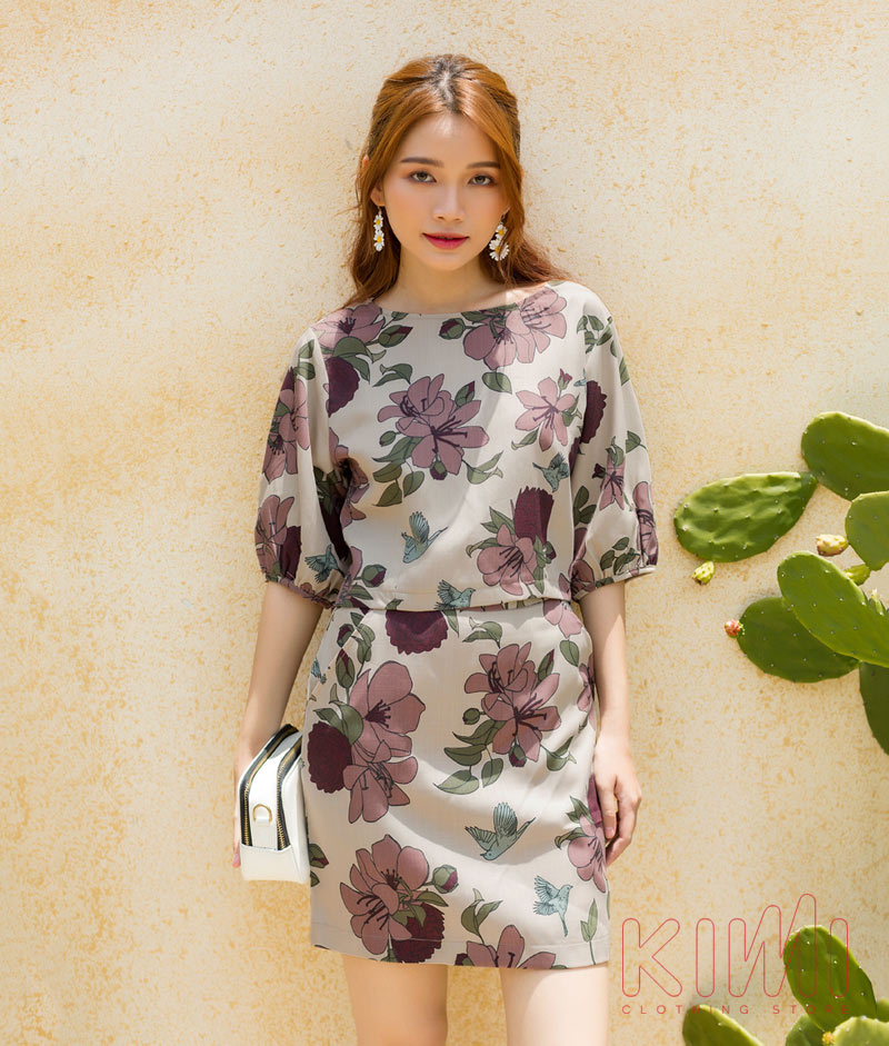 Set áo và chân váy hoa kimi – SV20001