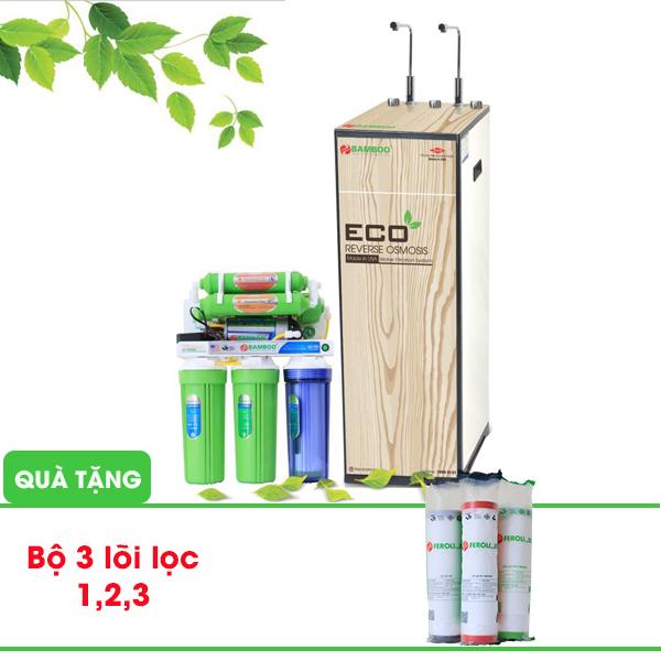 Máy lọc nước R.O Bamboo ECO (2 vòi 3 chế độ) - 9 cấp lọc (Tặng kèm bộ 3 lõi lọc 1,2,3)