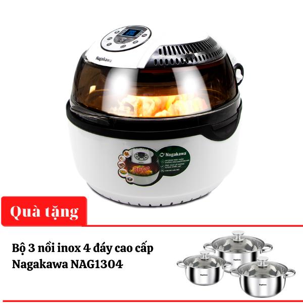 Nồi chiên không dầu 9L Nagakawa NAG3303 - tặng bộ nồi inox cao cấp Nagakawa - số lượng có hạn