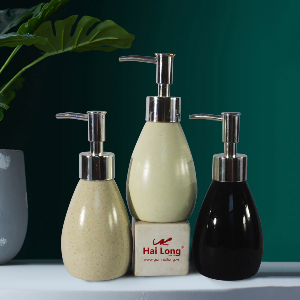 Bình đựng dầu gội sữa tắm dáng bầu bé bằng sứ cao cấp – gốm sứ Hải Long