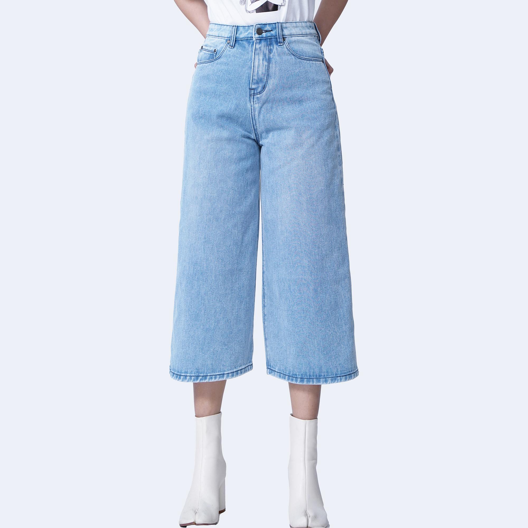 Quần jean ống rộng dáng lửng màu xanh biển – Aaa Jeans
