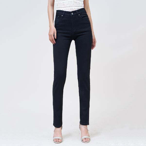 Quần jean nữ ống đứng lưng cao màu đen - Aaa Jeans