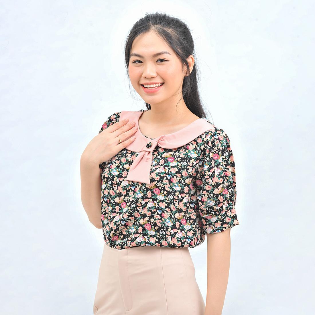 Áo kiểu nữ thời trang Eden họa tiết hoa dáng suông cổ tròn phối nơ – ASM107