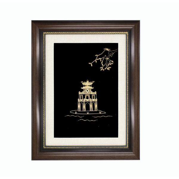 Tranh Tháp Rùa Hà Nội cao cấp mạ vàng