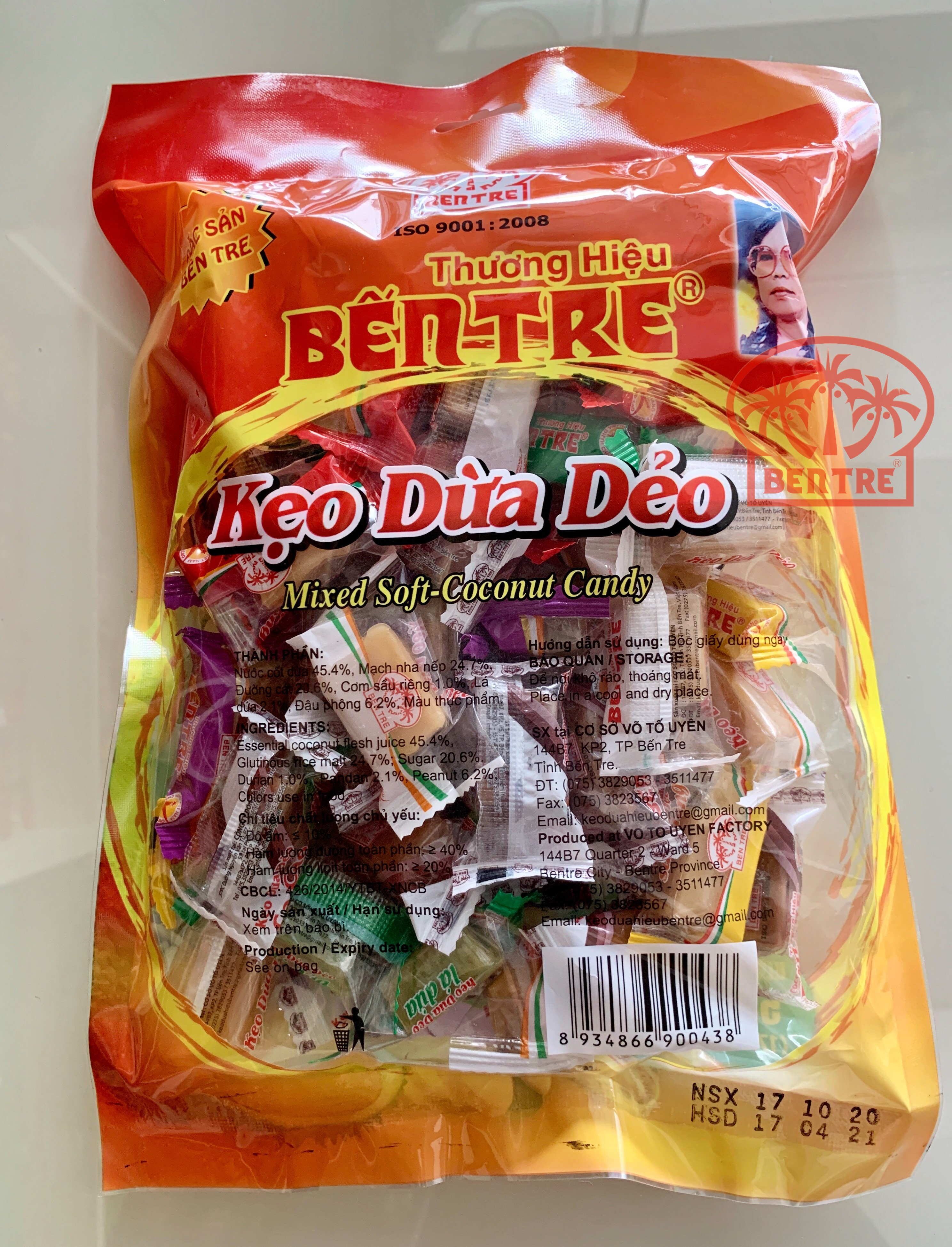 Combo 4 Túi Kẹo Dừa Dẻo hiệu Bà Hai Tỏ Bến Tre - Sáu Vị 2kg