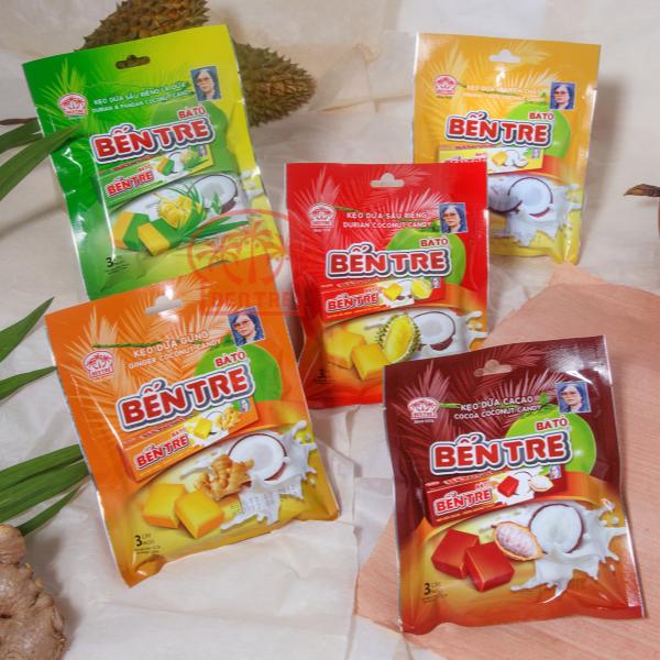 Combo 05 túi – 15 Thanh kẹo dừa hiệu bà Hai Tỏ Bến Tre – Năm Vị (Mỗi thanh 10 viên)
