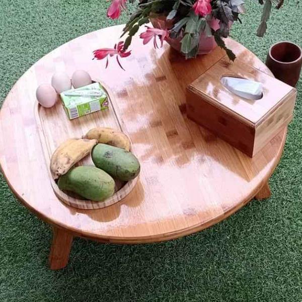 Bàn tròn kiểu dáng Nhật, dùng làm bàn ăn bàn trà ngồi bệt hàng gỗ Tre tại xưởng