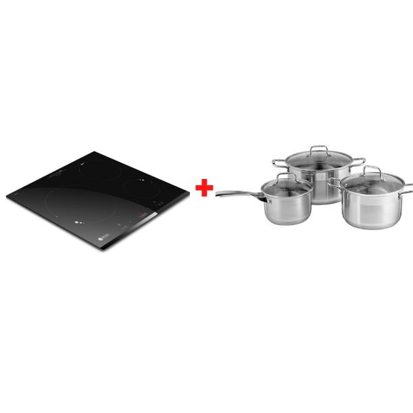 Bếp từ ba Elmich ICE-3493 - Tặng Bộ nồi inox cao cấp Smartcook 2101OL size 16-20-24cm trị giá 1,8 triệu
