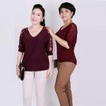 Áo kiểu nữ trung niên cổ tim phối ren đỏ - UPAR18