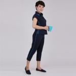 Đồ bộ nữ trung niên quần lửng tay ngắn xanh đen - UPAR20
