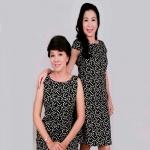 Đầm ôm nữ trung niên họa tiết sang trọng - UPAR23