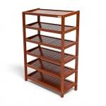Kệ dép 6 tầng IB673 gỗ cao su 73x30x105 cm màu cánh gián