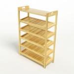 Kệ dép 6 tầng ván IV673 gỗ cao su 73x30x110 cm màu tự nhiên
