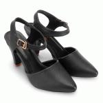 Giày nữ Huy Hoàng cao cấp cột dây hở gót màu đen HV7094