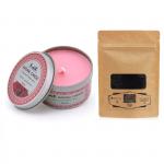 Combo nến thơm tinh dầu hoa hồng hộp thiếc và bột than Ecolife