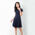 Đầm xòe công sở thời trang Eden - D276 (xanh đen)
