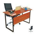 Bộ bàn Rec-F Plus chân đen màu cánh gián và ghế IB16A đen - IBIE
