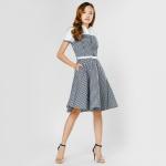 Đầm xòe caro thời trang Eden màu caro đen trắng - D291