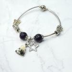 Vòng tay charm đá ngôi sao may mắn - Tatiana - VH2266 (Đen)