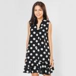 Đầm suông thời trang Eden chấm bi D296 (đen)