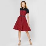Đầm xòe caro thời trang Eden màu caro đỏ đen - D291