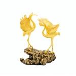 Quà tặng mừng thọ: Tượng đôi hạc Phúc Lộc mạ vàng – TDHMV02