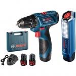 Bộ combo máy khoan vặn vít và đèn pin Bosch GSR 120-LI + GLI 120-LI