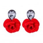 Bông tai hoa vải đính đá - Tatiana - BH2493R (Đỏ)