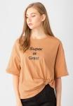 Áo kiểu nữ in chữ tay ngắn tà kiểu Kassun cam