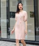 Đầm tay bồng đính nút hồng-AD180098