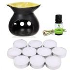 Đèn nến xông tinh dầu hình chiếc lá NuCare kèm 1 vỉ nến 10 viên và 1 tinh dầu sả chanh 5ml NuCare