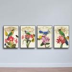 Bộ 4 tranh tứ quý - Tranh chim và hoa W678 - Size M