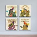Bộ 4 tranh tứ quý - tranh chim hoa cổ điển W677 - Size M