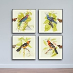 Bộ 4 tranh gỗ chim hoa và bướm - W673 - Size M