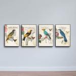 Bộ 4 tranh tứ quý - tranh gỗ chim hoa - W676 - Size M