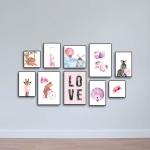 Bộ 10 tranh treo quán cà phê thế giới màu hồng W1088 Canvas size S (nhỏ)