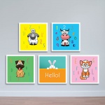 Bộ 5 tranh thú cưng dành cho trẻ nhỏ W1190 size 40x40 Canvas
