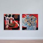 Bộ 2 tranh khỏa thân cô gái phong cách sơn dầu W1151 size 40 x 40 Canvas
