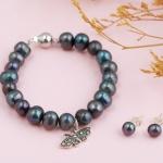 Opal - vòng tay ngọc trai đen charm bạc và hoa tai_T07