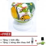 Đèn xông tinh dầu mini tặng 01 lọ tinh dầu sả chanh 5ml NuCare và 01 bóng đèn dự phòng (MN01)