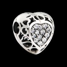 Hạt charm DIY PNJSilver hình trái tim đính đá XM00A000007