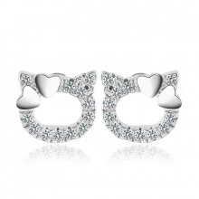 Bông tai bạc Hello Cat - Eropi Jewelry