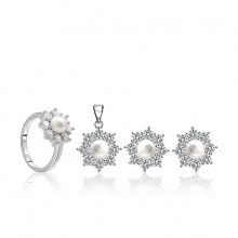 Bộ trang sức bạc ngọc trai Genevieve - Eropi Jewelry