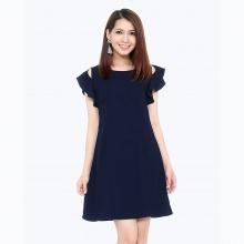 Đầm suông nhún tay thời trang Eden d117 (xanh đen)