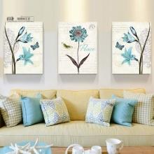 Bộ 3 tranh treo tường hoa xanh