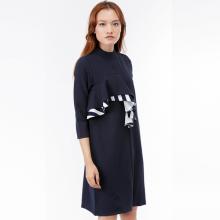 Đầm suông Amun tay lửng cổ trụ phối bèo màu xanh navy MI210-XANHDUONG