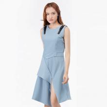Đầm xòe Amun vạt xẻ cách điệu màu xanh jean DX235-XANH
